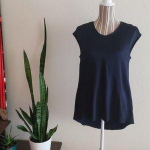 St. John navy blue acetate hi low blouse